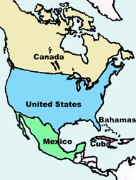 Map of North and Central American showing the location of Mexico