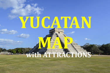 Yucatan Map with Attractions